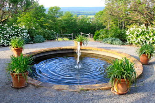 circular pond, water feature, P Allen Smith