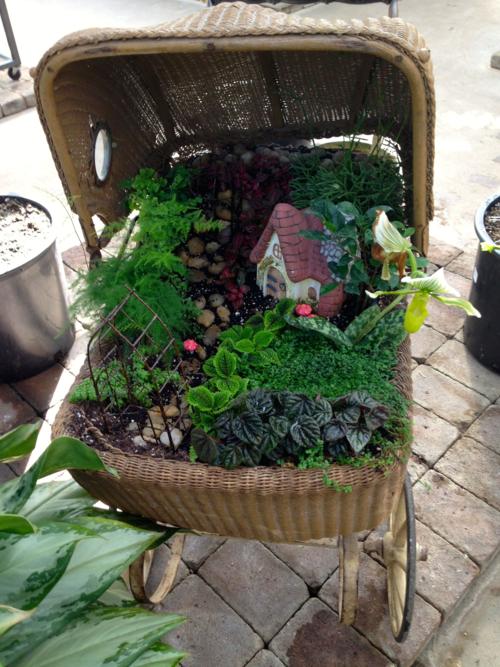 Fairy Garden, Vintage Wicker Baby Pram