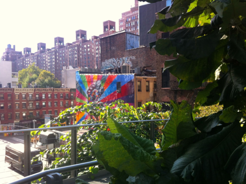 Colorful mural viewed from High Line