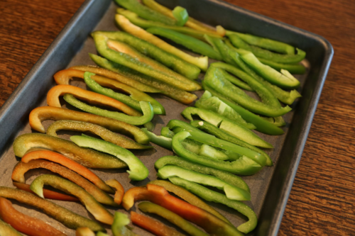 Tray freezing bell peppers
