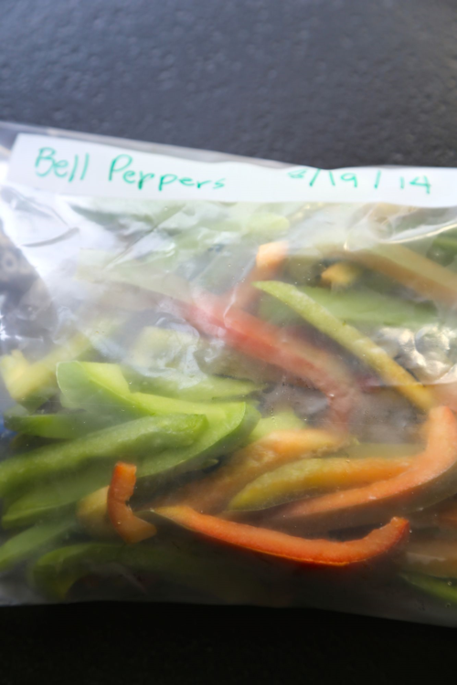 store frozen peppers in freezer bags