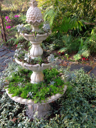 Three Tier Fountain planted with succulents