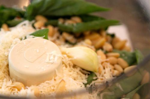 making pesto in food processor