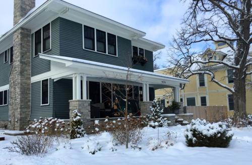 Foursquare home in the snow
